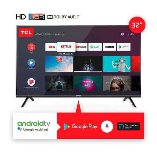 "SMART TV 32"" TCL HD ANDROID CTRL/VOZ L32S6500"